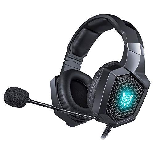 HUAXING PC Gaming Headset Over-Ear Gaming Kopfhörer mit Mikrofon LED Licht Rauschunterdrückung & Lautstärkeregler für Laptop blau Samsung Stand-notebook-pc
