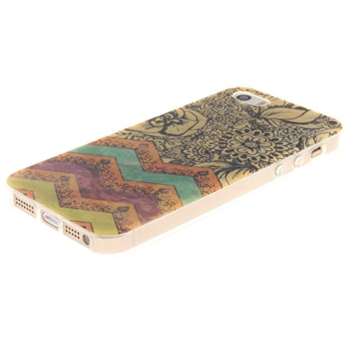 Xf-fly® iPhone SE / 5 / 5S Hülle mit TPU Silikon Material und Retro Farblich Muster Schutzhülle Handytasche für Apple iPhone SE / 5 / 5S(4.0 Zoll) P-10