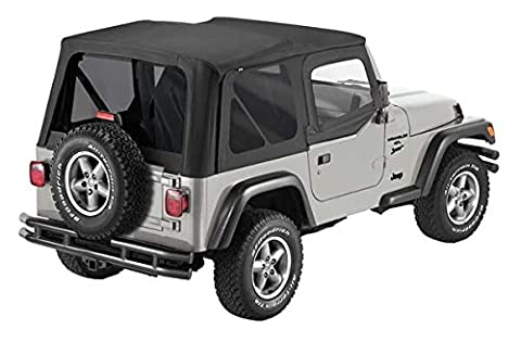 Pavement Ends by Bestop 51197-15 Black Denim Replay Replacement Soft Top Tinted Back Windows-With upper Door Skins-No frame hardware included- 1997-2006 Jeep Wrangler by Pavement Ends