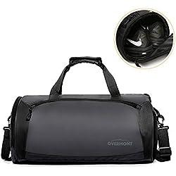 Overmont - Bolsa de Deporte para Gimnasio (35 L, Ligera, con Compartimento para Zapatos, Impermeable, Transpirable y de Almacenamiento, para Baloncesto y Tenis, Fitness, Hombres y Mujeres)