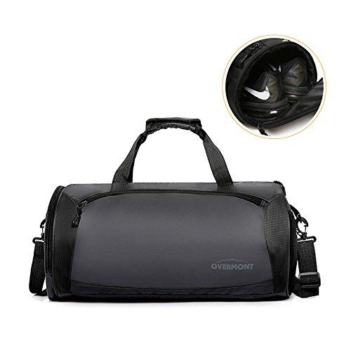 Overmont borsa da palestra o brevi viaggi in nylon capiente e pieghevole con chiusura lampo tasca per scarpe o calcio colore grigio