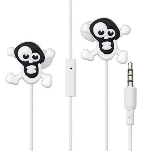 Halloween Special: LolaChat Ohrhörer mit Mikrofon Rock (Schädel, Schwarz Weiß, Angst, Witz)