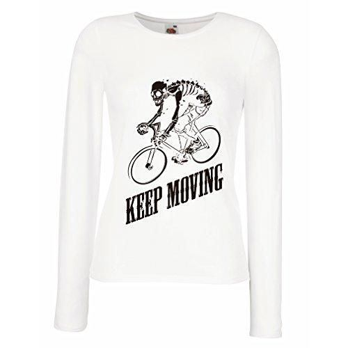 N4525M Weibliche langen Ärmeln T-Shirt Keep Moving (Large Weiß Mehrfarben)