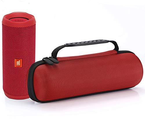 L3 Tech Étui Rigide Housse de Transport pour JBL Flip 4 / JBL Flip 3 sans Fil Enceinte Portable Bluetooth,Adapté au câble USB et au Chargeur Mural - Rose Rouge