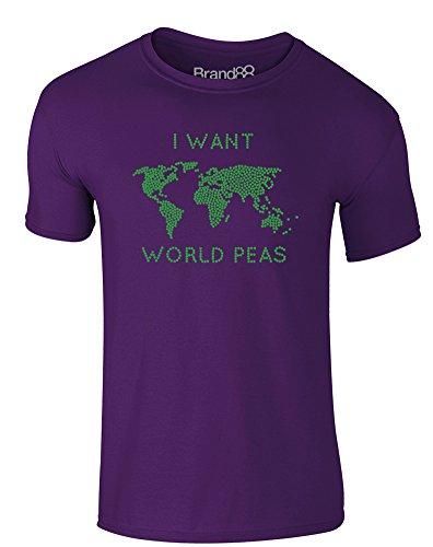 Brand88 - I Want World Peas, Erwachsene Gedrucktes T-Shirt Lila