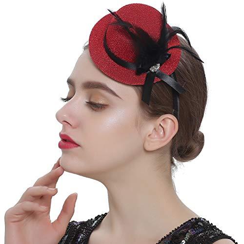 Coucoland Damen Mini Top Hut Feder Zylinder Hut Haarreif Haarspangen Dual Use Englische Tee Party Hut Flapper Zubehör Damen Fasching Kostüm Accessoires (Weinrot)