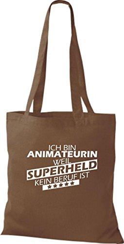 Shirtstown Stoffbeutel Ich bin Animateurin, weil Superheld kein Beruf ist hellbraun