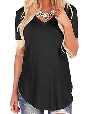 Juleya Mujer Camiseta Slim Fit Camisa Manga Corta Top Túnico Blusas Largas de Color Sólido Varios Colores Tallas