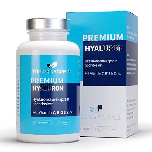 Hyaluronsäure Kapseln - Hochdosiert mit 350 mg. 90 Stück (3 Monate). Mit Vitamin C, B12 und Zink. Hyaluron mit 500-700 kDa. Vegan - Für Haut, Anti-Aging und Gelenke - Hyaloronsäure - Pro-vitamin Zink Vitamine