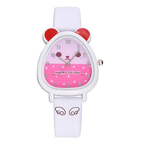 Mode Neue Schöne Tier Design Uhr Analog Legierung Quarz Lederband Armbanduhr für Jungen Mädchen Geburtstagsgeschenk Souvenir(Weiß,Einheitsgröße) ()