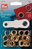 15 Ösen mit Scheiben, 11mm, goldfarbig