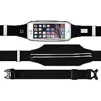 Magicmoon Marsupio Con Cintura Esecuzione di Cintura vita della Fanny Pack con cerniera per iPhone 6, 6S, 6 Plus, 6S Plus, Samsung Galaxy S5, S6, S7, Edge, Note 3, 4, 5, LG G3 G4 G5 e altri (Nero)