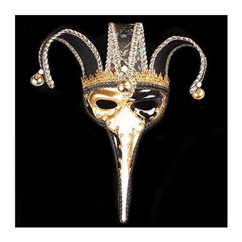 WFTD Römische Maske gemalt Tanzmaske Lange Nase DREI Farben zur Auswahl geeignet für Masquerade Party Performance Festival Karneval, Einheitsgröße,Black