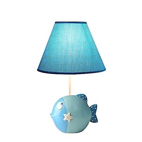 Méditerranée Simple Poisson Lampe de Table Pour Enfants Résine Coton Lampe de Chevet Pourpre - Haute 33cm, Diamètre 19cm, E14 (Bleu)