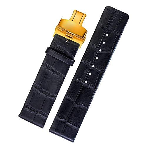 SEBAS Home 20mm Luxus italienische Leder Ersatz Armbanduhrenarmbänder dünne Krokodil geprägte Gold Deloyant Verschluss