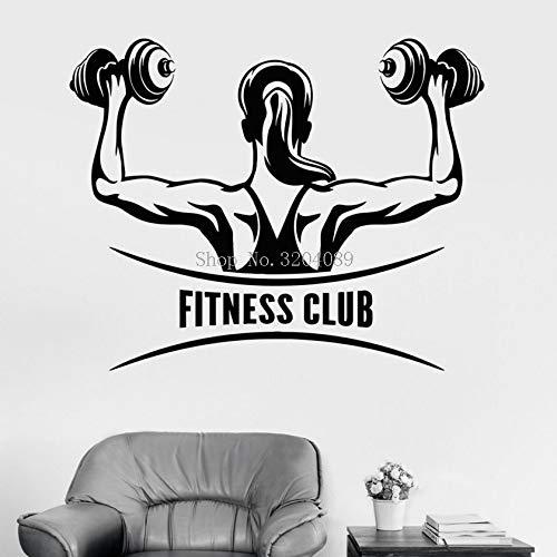 Vinyl Wandaufkleber Fitness Club Logo Frau Gym Mädchen Motivation selbstklebende Dekoration Für Fitness Wohnkultur Aufkleber 70X56CM