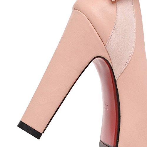 YE Damen High Heels Plateau Pumps mit Blockabsatz und Schleife Rund Geschlossen Party Schuhe Rosa