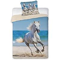 Faro cavallo bianco Horse Riding Set Letto, Copripiumino 160X 200letto singolo 100% cotone Biancheria da letto, più colori, 200x 160cm
