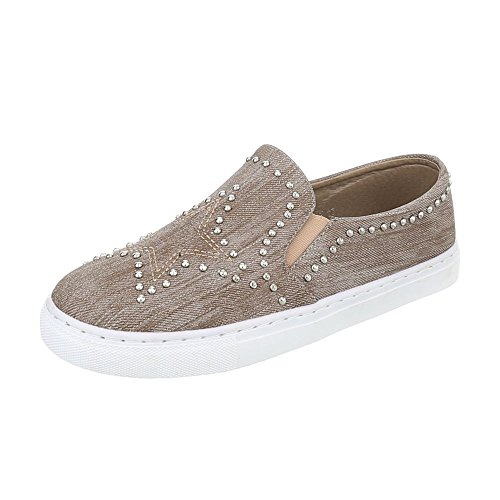 Ital-design Chaussures Femme Baskets Plat Sneakers Faible Bronzage D-17