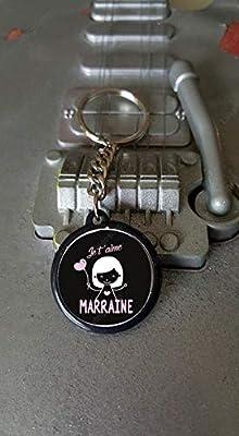 Porte clés 25 mm Je t'aime Marraine