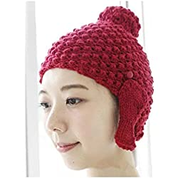 Wanglele Señoras Tejer Hat Cap El Otoño Y El Invierno, La Cabeza Buda Ear Sombreros, Rojo ,M (56-58Cm)