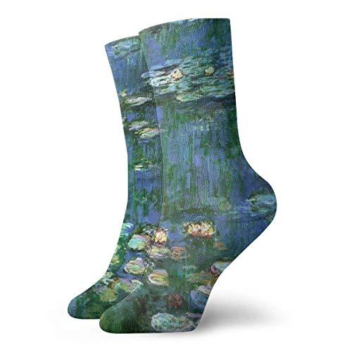 Jxrodekz Lilies Claude Monet Water Lilies Crew Socken Funny Novelty Thin Casual Sport Comfort Work 11.8