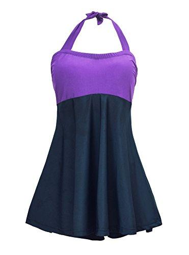 Viloree Damen Badeanzug Einteiler Bademode Badekleid Push Up figurformend Übergröße Lila Tag 2XL (Einteiler Damen Boyleg-badeanzug)