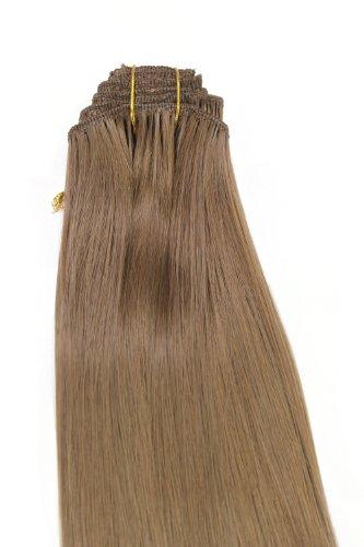 Wig me up - clip in set completo 8 pezzi extensions intera testa colore biondo scuro (12) lunghezza 40 cm ex03-ggo-12