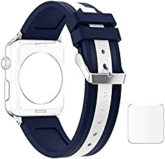 J D13 Replacement Soft Silicone Strap Bands For Apple Watch iWatch Series 1, Series 2 , Series 3 42MM White Midnight Blue Plus Screen Guard (Watch Not Included)