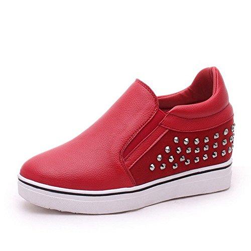 VogueZone009 Femme Rond à Talon Haut Matière Souple Couleur Unie Tire Chaussures Légeres Rouge
