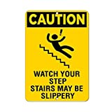 Froy Caution Watch Your Step Stairs May Be Slippery Hazard Mur Tôle Signe Rétro Fer...