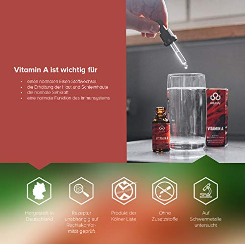Vitamin A Tropfen als Retinol • 400 I.E. Retinylpalmitat pro Tropfen – 2000 I.E. pro Tagesdosis • In MCT-Öl gelöst • 620 Tropfen • Allergenfrei • Vegan • Mit Pipette - 2