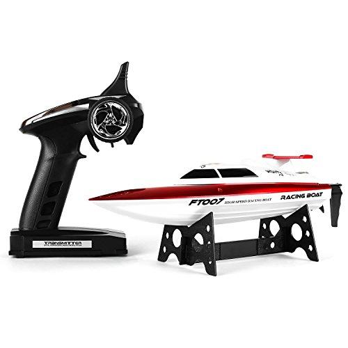 Km 30 Rc-boot / H (Takira Leviathan RC-Speedboot ferngesteuertes Rennboot Sportboot (30 km/h schnell, Boot mit Akku-Betrieb, bis 150m Reichweite, inkl. Ständer) rot-weiß)