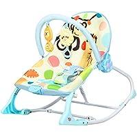 COSTWAY Balancín para Bebé Tumbona para Bebé Silla Mecedora para Bebé con Arco de Juego Extraíble y Música Carga hasta 18 kg (Azul)