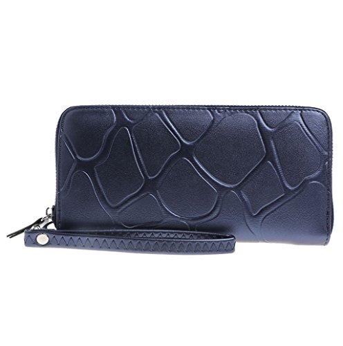 Dairyshop Borsa della borsa del libretto di riserva della frizione del raccoglitore lungo della cassa del supporto della carta del cuoio del faux delle donne (Viola) blu