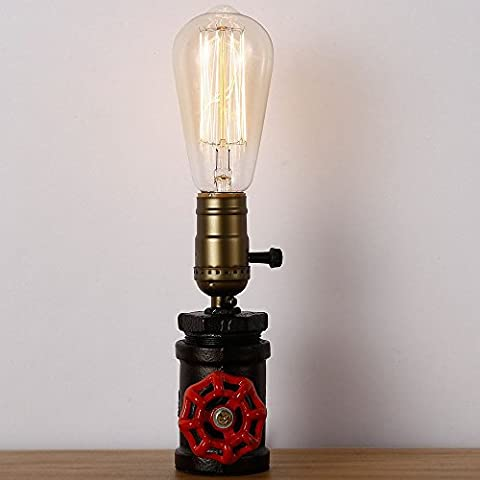 Injuicy Retro Loft Vintage Industrial Steampunk Wrought Iron Edison Bulb Table Lights American Led Water Pipe Metal Desk Accent Lamps Bedside Nightstand Bedroom Living Room Cafe Bar Home Decor Lighting with