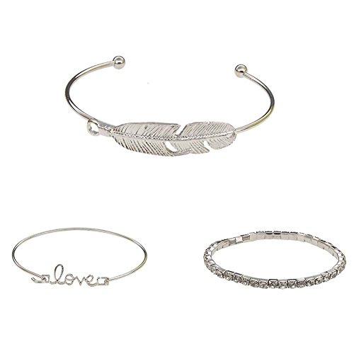 longyitrade 3Pcs / Geschenkset für Frauen, Legierung, Rhinestones Silber/schwarz