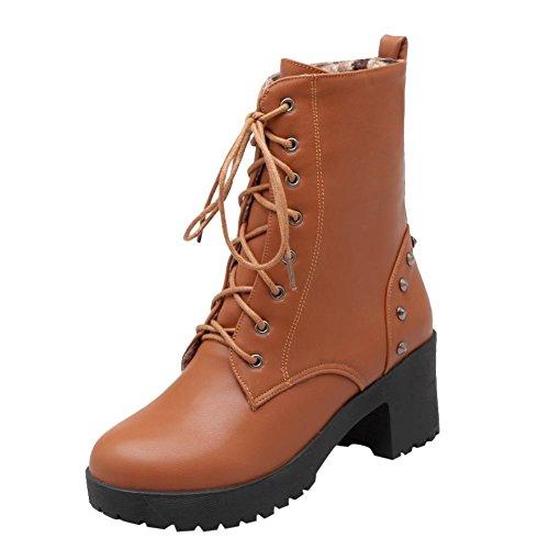 Mee Shoes Damen runde chunky heels Schnürsenkel kurzschaft Stiefel Gelbbraun