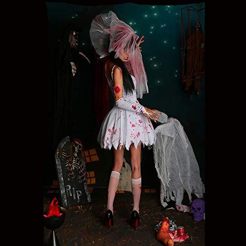 Bloody Kostüm Mary Halloween - Bloody Mary Corpse Braut Ghost Vampire White Cosplay Kostüm Kleid Halloween Marsqurede Kostüm,Weiß,XL