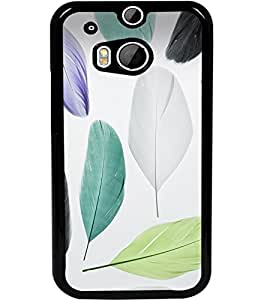 ColourCraft Colourful Feathers Design Back Case Cover for HTC ONE M8