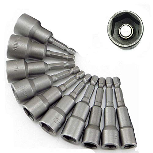 \'Malayas 10 x Muttern Magnetische Bit-Adapter, 6–19mm 1/4 Zoll, Innensechskant-Muttern (für Bohrer oder Akkuschrauber)–Starke Verlängerung von Bohrer-Akku (6/7/8/10/12/13/14/15/17/19mm)