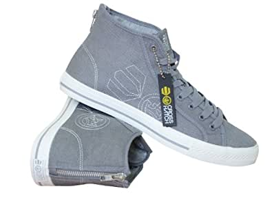 NEW MENS CROSSHATCH CANVAS HI TOPS TRAINERS HIGH TOP BOOTS SNEAKERS SHOES 6-12 (7)