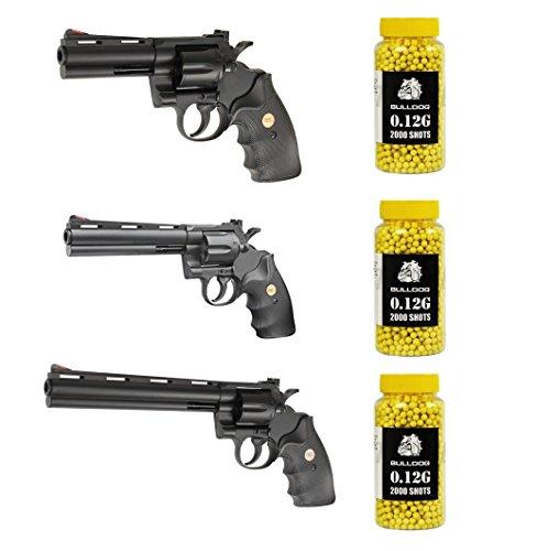 UHC Python Revolver Set Softair Federdruck Revolver In Schwarz Unter 0.5 Joules, Metall Und ABS, GRATIS 6000 BULLDOG BBS 0.12G (Softair Uhc Revolver)