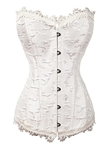 ZAMME Femmes Burlesque Beautiful Floral Lace Overlay Lacer Outwear