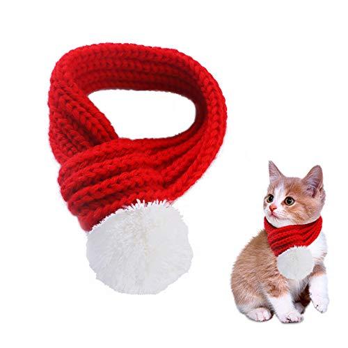 Weihnachten Kostüm Für Haustiere - PEDOMUS Haustier Kostüm Weihnachten Schal rot Pet Schal Haustier Bekleidung für Hunde und Katzen (XS)