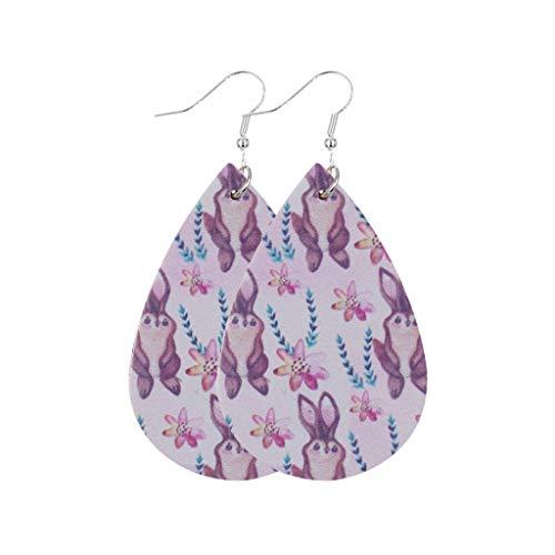 Damen Ohrringe mit Kaninchen Eier Drucken Hängend Ostern Schmuck Modeschmuck PU Leder Elegant Ohrring Wassertropfen Form Vintage Silber Ohrstecke Mädchen Frauen Bunt Zubehör Accessoires (F)