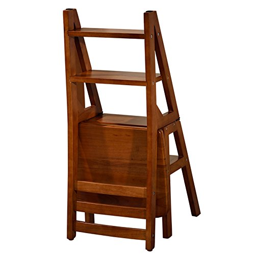 PENGYIZI HAIPENG Hölzerne Klappleiter Stühle Treppen Hocker Hölzern Leiter Stuhl Faltbar 4 Schritte Regal Dual-Use 2 Farben Wahlweise 37x40x90cm (Farbe : Nussbaum) -