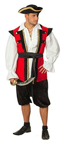 Karneval-Klamotten Piraten-Kostüm Herren Kostüm Pirat schwarz-rot Abenteuer Herrenkostüm Piraten-Weste Hose inkl. Schärpe Größe 52