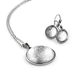 SCHMUCKZUCKER Damen 2er Schmuck-Set Modell Ewiges EIS Kette mit Anhänger Ohrhänger Edelstahl Silber-Farben Silber Grau