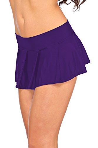 jowiha's Sexy Minirock kurz Schulmädchen Mini Rock Faltenrock in Schwarz Rot Violett Pink oder Türkis Einheitsgröße XS-M 32-38 (Violett) (Plissee-mini-rock)